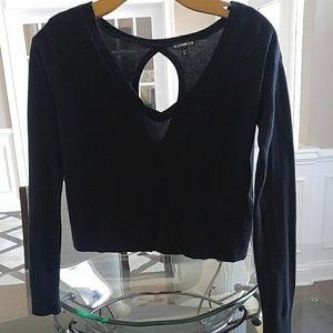 Express blk Crop Top zipper Sweater